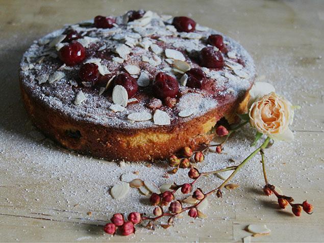 کیک آلبالو با تزیین آلبالو و پودر قند