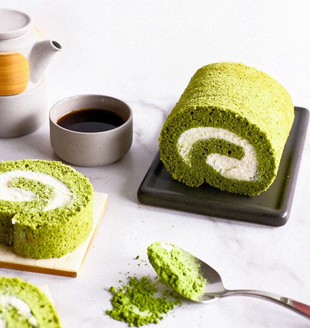مراحل تهیه کیک چای سبز